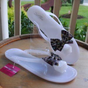 NWT NIB Jelly Sandal WHITE Colorful Adornment BOWS